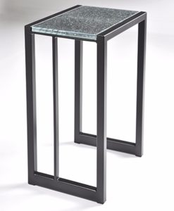 Charleston Forge Park West drink table with grey facet glass top