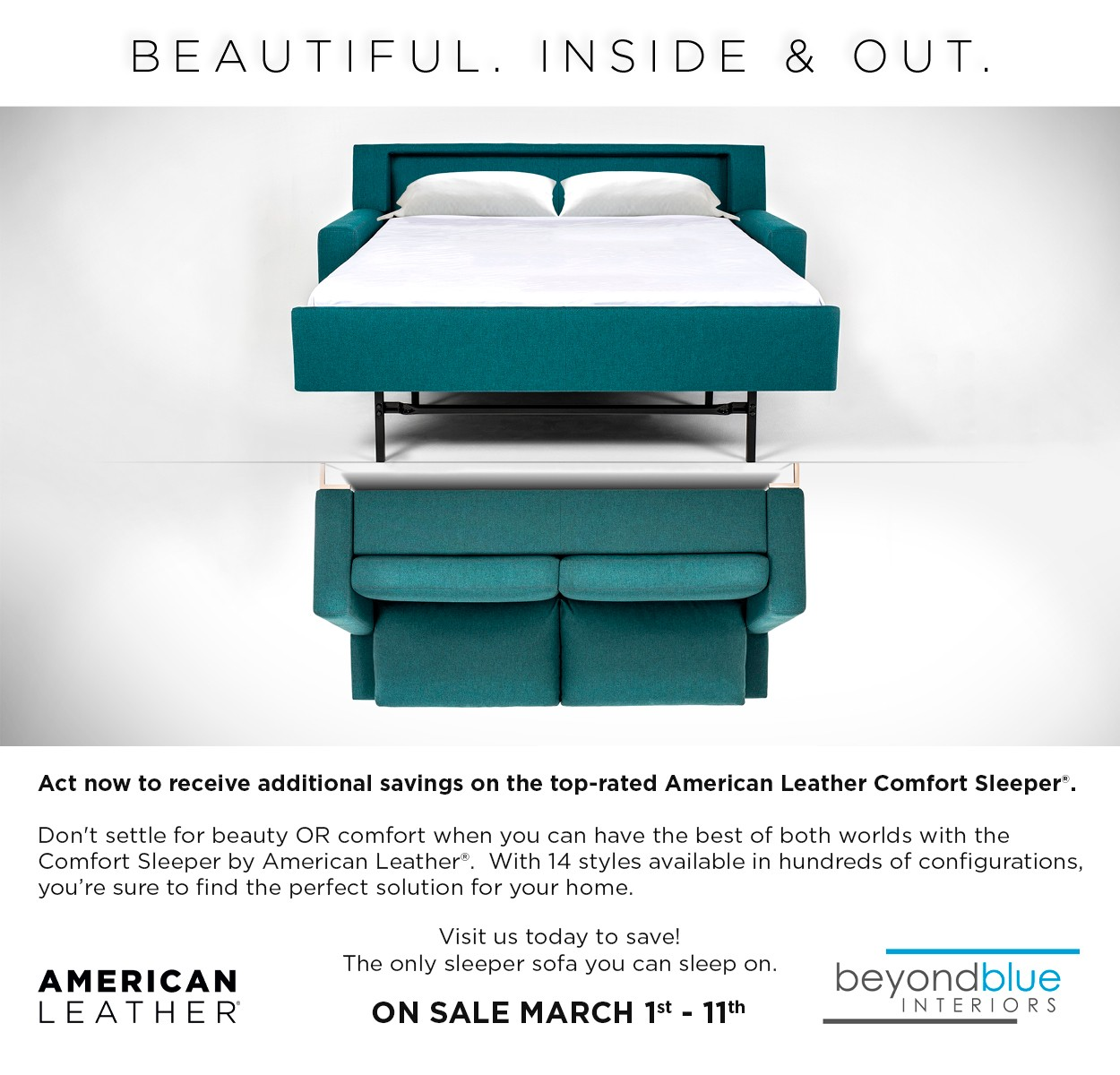 American Leather Comfort Sleeper sale Spring 2019
