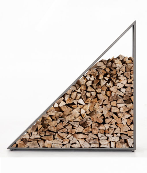 Four Hands Nero firewood storage with wood
