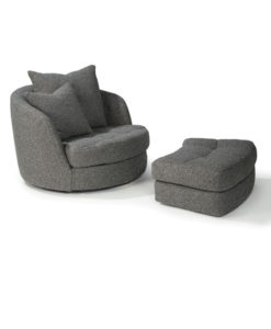 Thayer Coggin Giant Swivel Tub Chair + Ottoman
